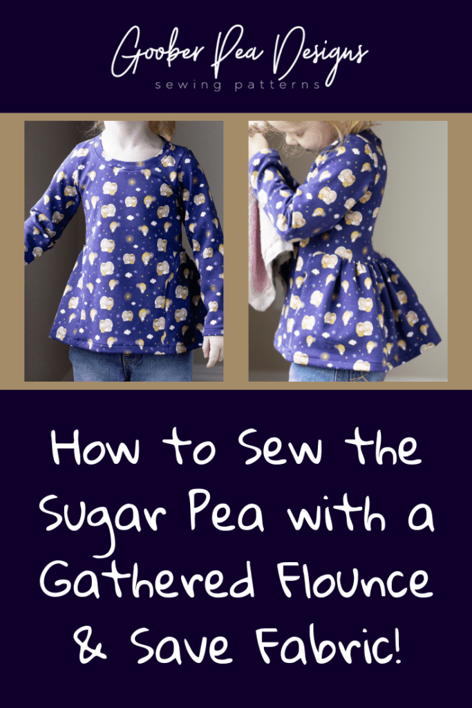Detailed tutorial showing how to hack the Sugar Pea printable PDF pattern to have gathered flounce instead of circle skirts - make it with less fabric!