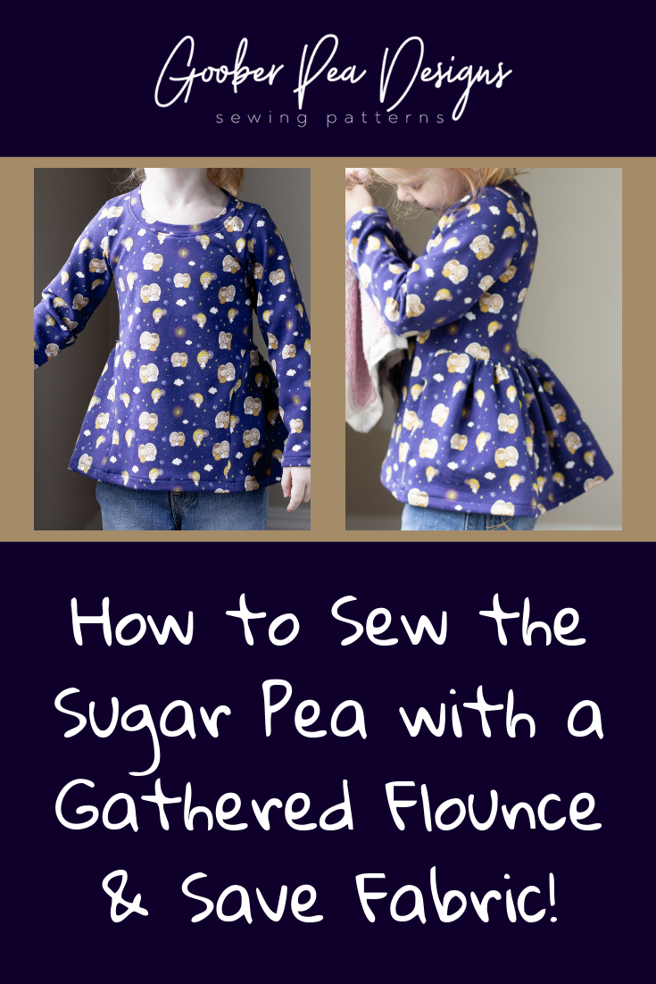 How to substitute the circle skirts for a gathered flounce on the popular Sugar Pea printable PDF sewing pattern. Detailed tutorial, beginner friendly, quick sew. For babies / toddlers / kids / girls.