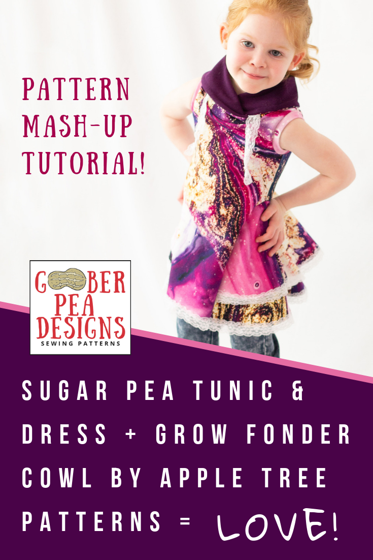 Tutorial detailing how to combine the cowl from the Grow Fonder PDF sewing pattern (by Apple Tree Sewing Patterns) with the Sugar Pea Tunic and Dress PDF sewing pattern (by Goober Pea Designs).