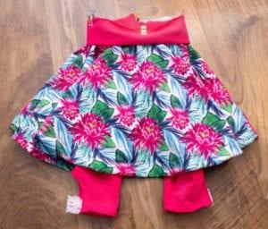 Tutorial on how to add leggings to Sadie Skirt circle skirt pattern, easy printable PDF sewing pattern, beginner friendly, for babies / toddlers / children / girls.