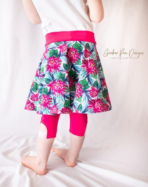 Tutorial on how to add leggings to Sadie Skirt circle skirt pattern, easy printable PDF sewing pattern, beginner friendly, for babies / toddlers / children / girls.