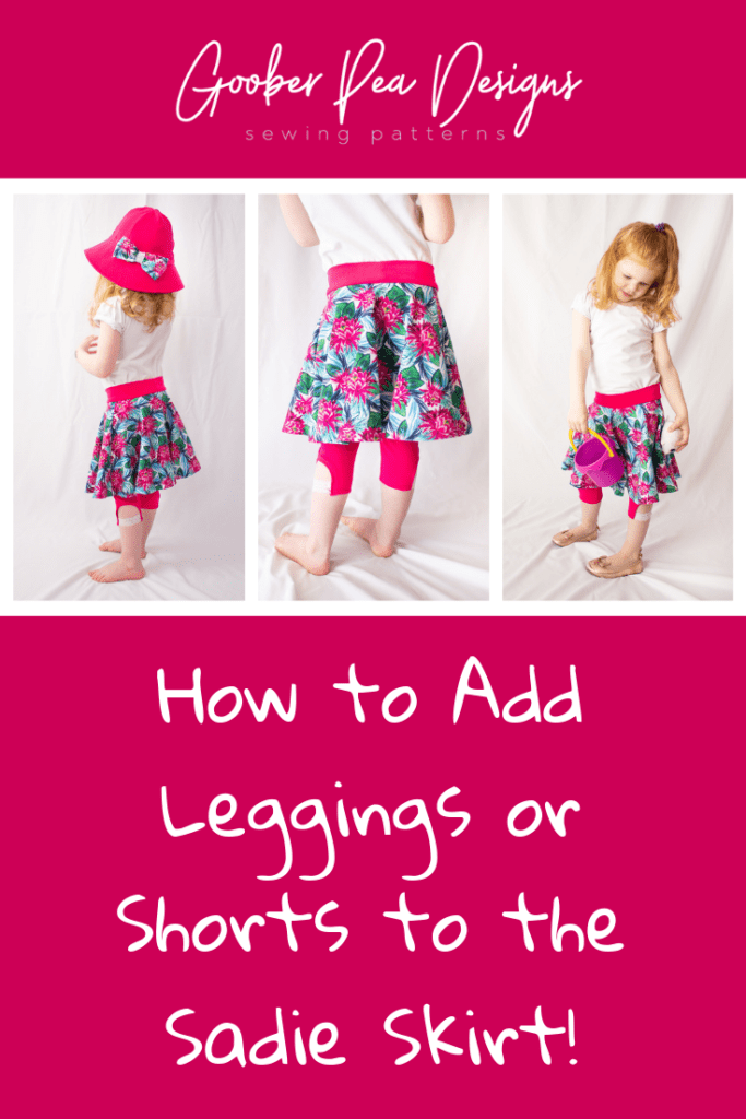 Tutorial on how to add leggings to Sadie Skirt circle skirt pattern, easy printable PDF sewing pattern, beginner friendly, for babies / toddlers / children / girls. Circle skirt with attached leggings or shorts.