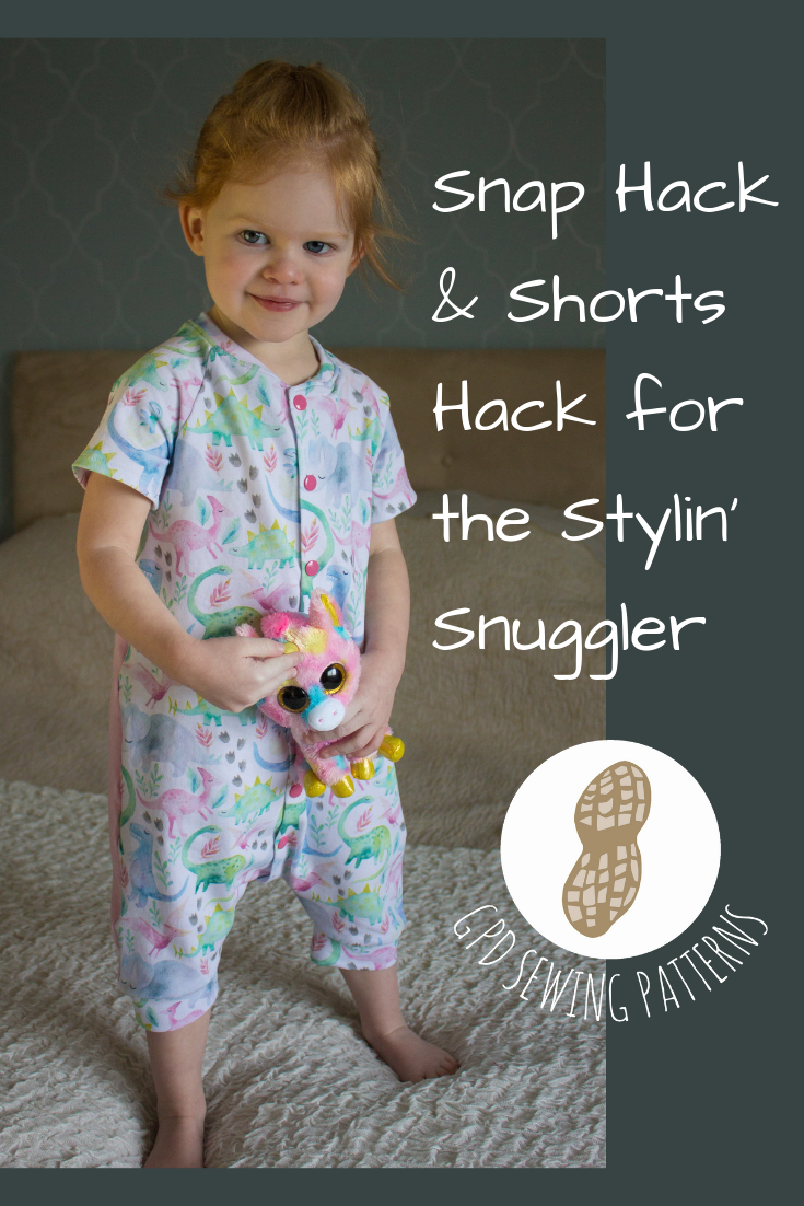 How to add snaps and or shorts length to the Stylin Snuggler printable PDF sewing pattern. Secure, cozy, sleep sack / pajamas. Lounge suit for older children. #sleepsacksewingpattern #sewingpattern #sleepsuitsewingpattern #onesiesewingpattern