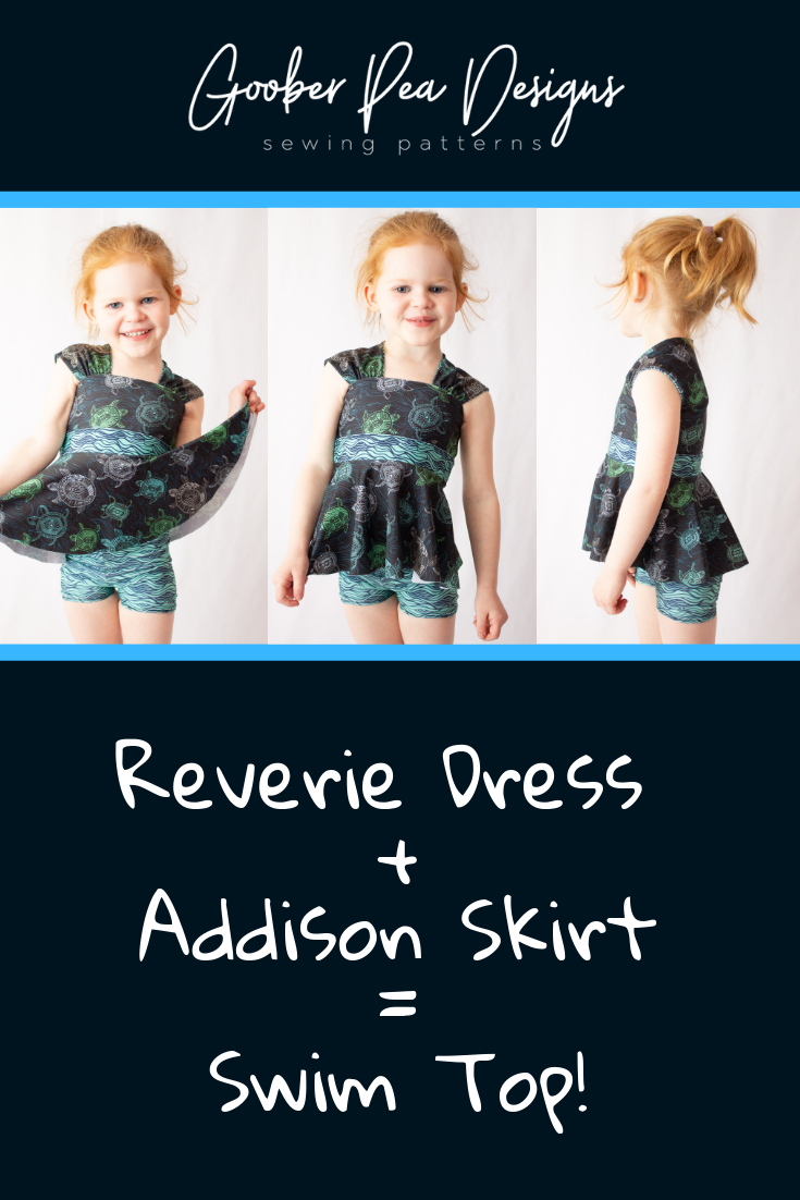 Using the Reverie Dress printable PDF sewing pattern, plus Addison Skirts add-on sewing pattern, to make a swim top for babies / toddlers / kids / girls