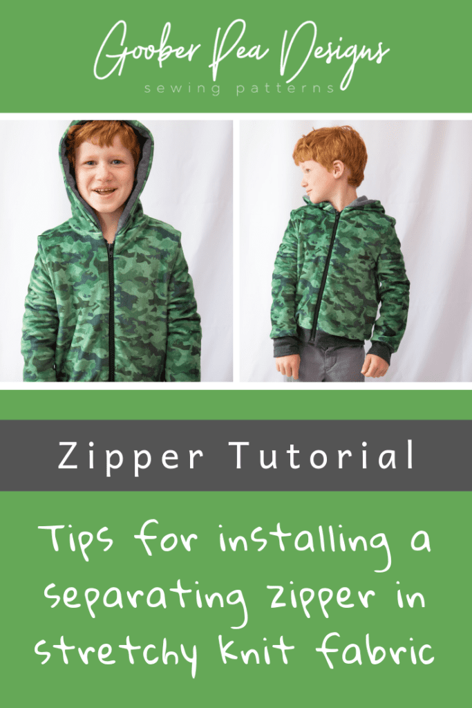 Zipper tutorial, image of jacket with separating zipper, tips for installing a zipper