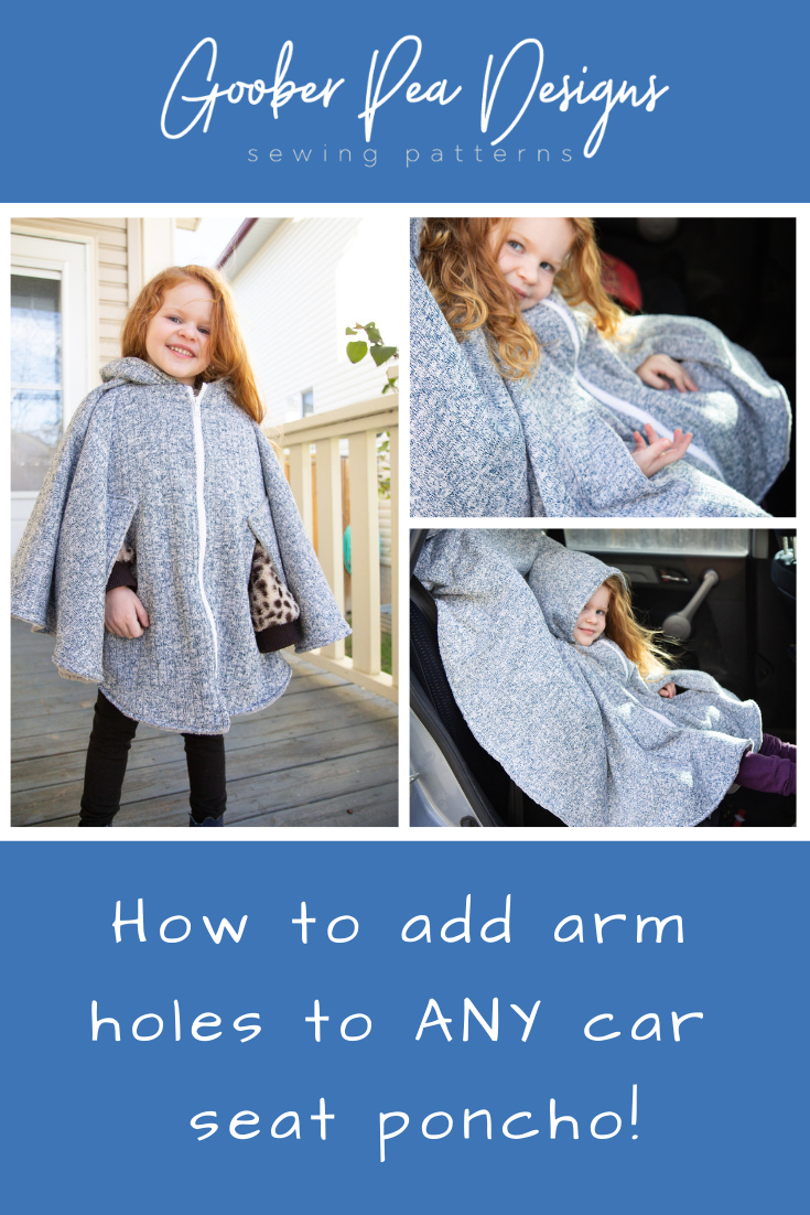 How to add arm holes to any car seat poncho, free tutorial, easy diy beginner sewing project #carseatponcho #freesewingtutorial #pdfsewingpatterns #easysewingproject