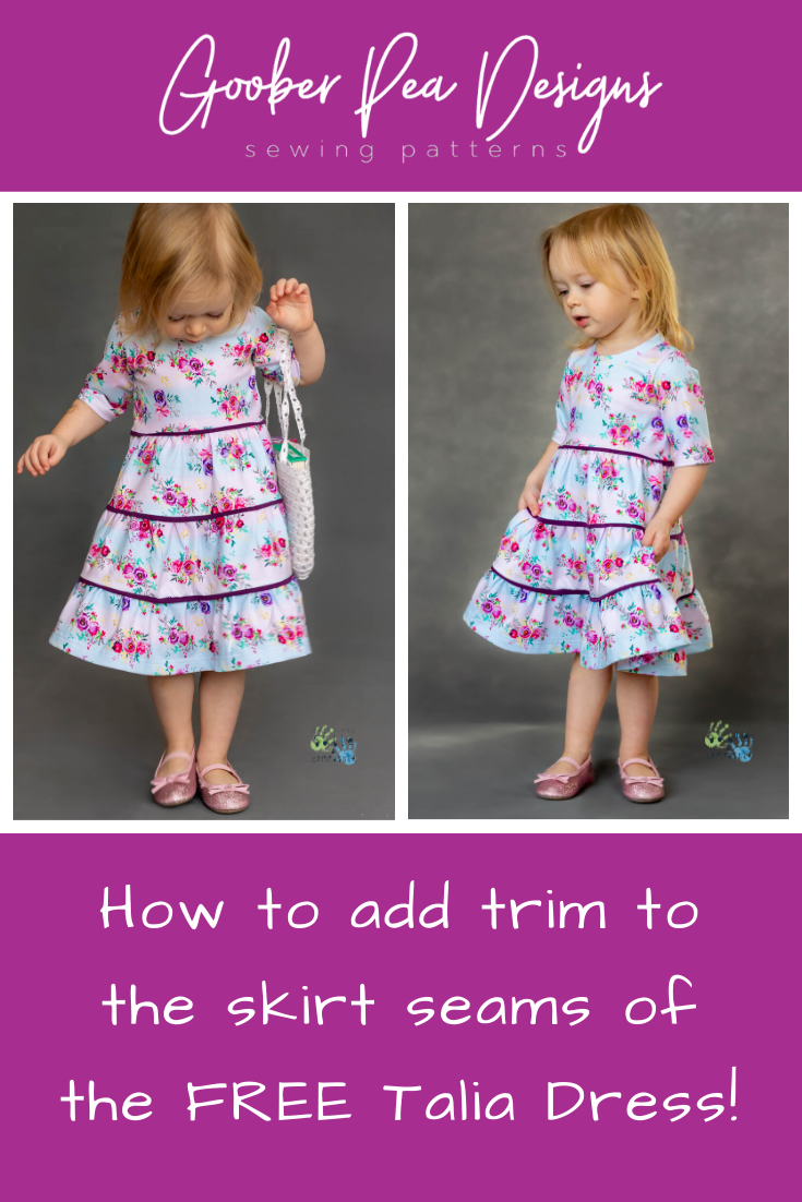 How to add trim to the FREE Talia dress printable sewing pattern! Tiered skirt, multiple sleeve lengths, for babies / toddlers / children